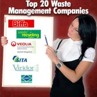 A woman points to a board full of top UK 20 Waste Company logos.