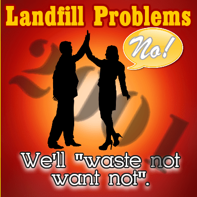 Image shows landfill problems meme.