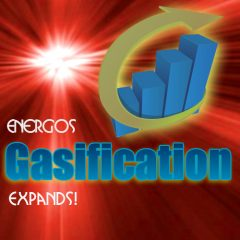 Image shows a graphic to introduce Energos gasification