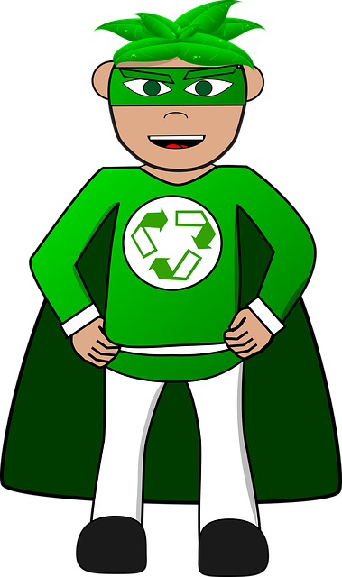 Image illustrates what is recycling showing a super-recycler!