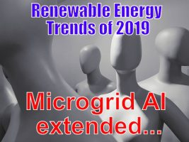 Image shows Trend for 2019 in renewable energy being increased Microgrid AI use.