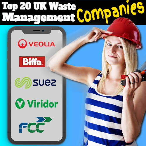 A woman points to a smart phone displaying top 20 Waste Company logos.